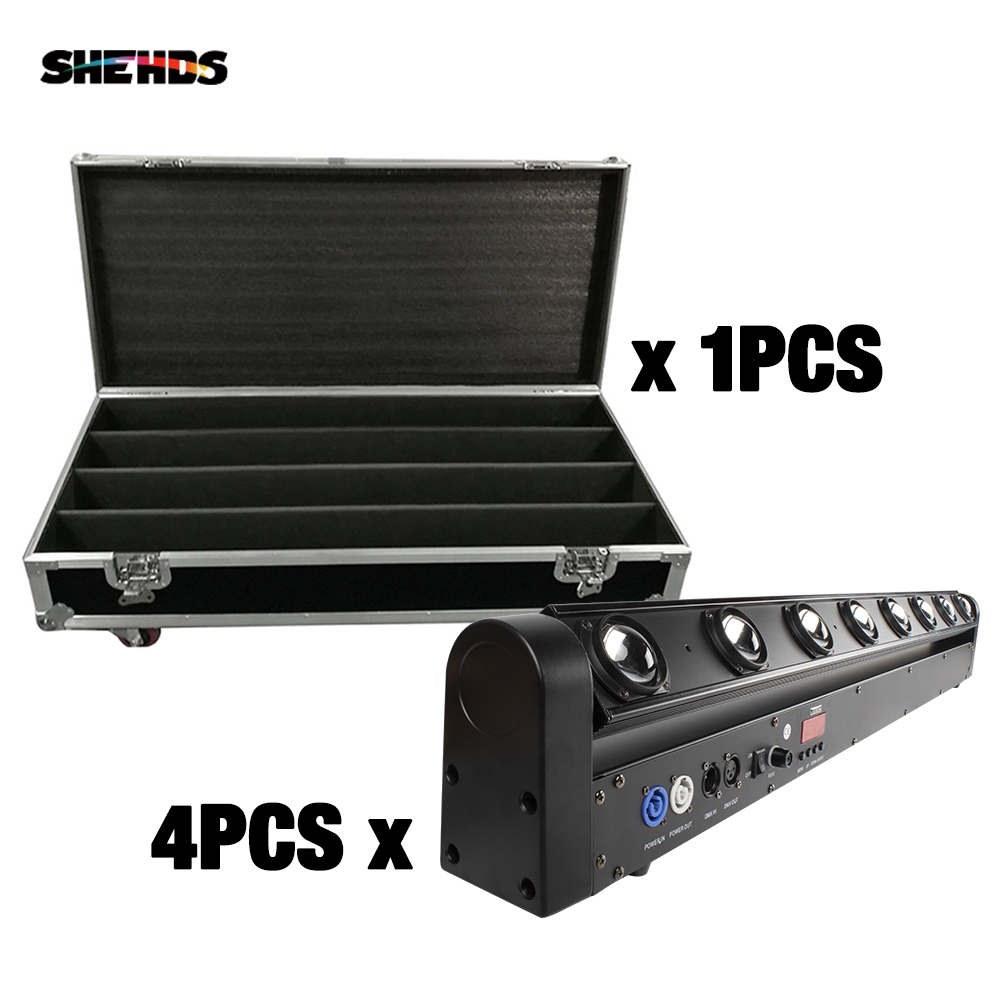 4PCS 8x12W Bar Beam Moving Head With Flight Case RGBW 4in1 Led Lyre Stage Lighting DMX DJ Party KTV Home Dance Faisceau SHEHDS