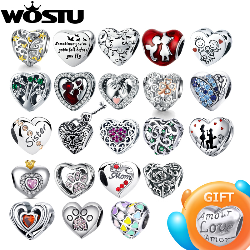 WOSTU 100% Authentic 925 Sterling Silver Heart Shape Charm Beads Fit Brand Charm Bracelet DIY Original Silver Jewelry