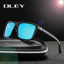 OLEY Polarized Men Sunglasses brand designer Retro Square Su
