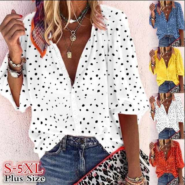 Taniafa Fashion Women Casual Loose Print Long Sleeve Shirts Casual V Neck Polka Dot Tops Blouse Plus Size 2