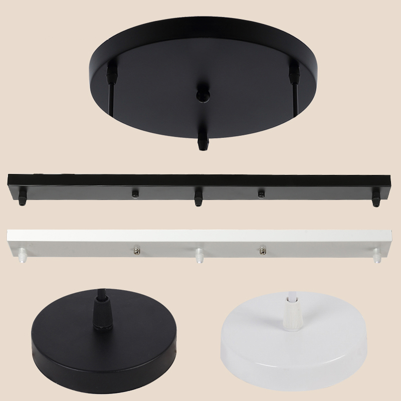 Ceiling Plate Multi Size DIY Black/White Plate 2/3/4/5 Holes Light Fittings Round Rectangular Straight Accessories Lamp Base