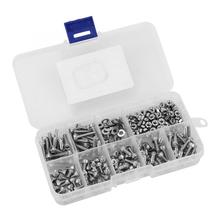 Tornillos Para Madera 340pcs M3 Hex Socket Stainless Steel SS304 Screw Bolt Nut Washer Assortment Set Well Packed And Assorted 340pcs assorted stainless steel m3 screw 5 6 8 10 12 14 16 18 20mm with hex nuts bolt cap socket set