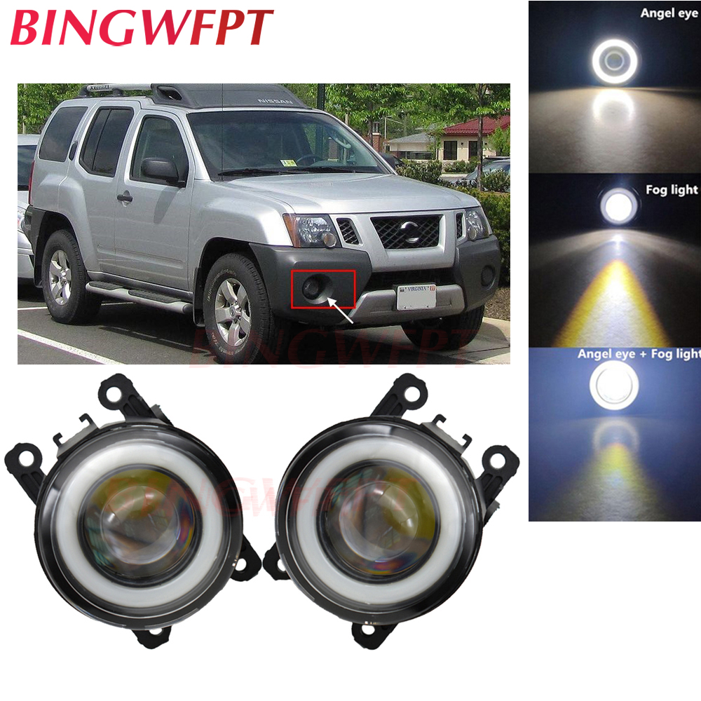 2x High Power H11 LED Fog Lamps Angel Eye Light With Glass Len 12V For Nissan Xterra 2005 2006 2007 2008 2009 2010 2011- 2015