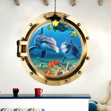Home Decor 3D Submarine Window Under Sea World Wall Sticker For Kids Rooms LivingRoom BedRoom DIY Decorative Wall Decals(China)