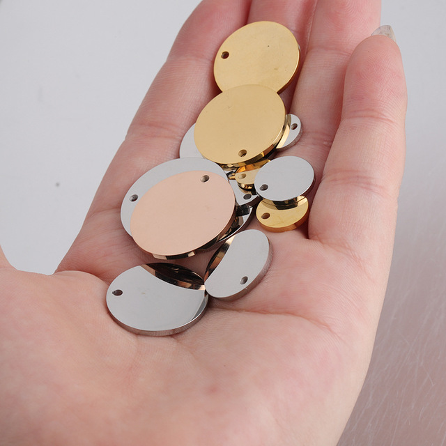 4 pcs rose gold blank heart disc stamping blank jewelry supply B12-R1