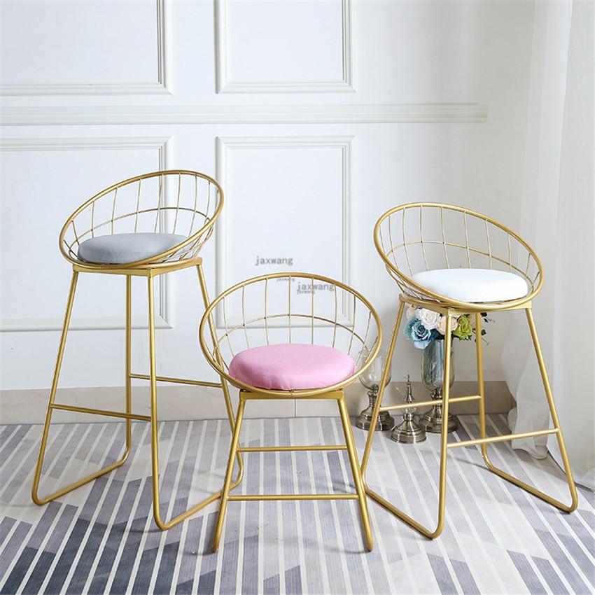 New Stool Bar Tabouret De Bar Simple Bar Stool Wrought Iron Bar Chair Gold High Stool Modern Dining Chair Nordic Pub Accessories
