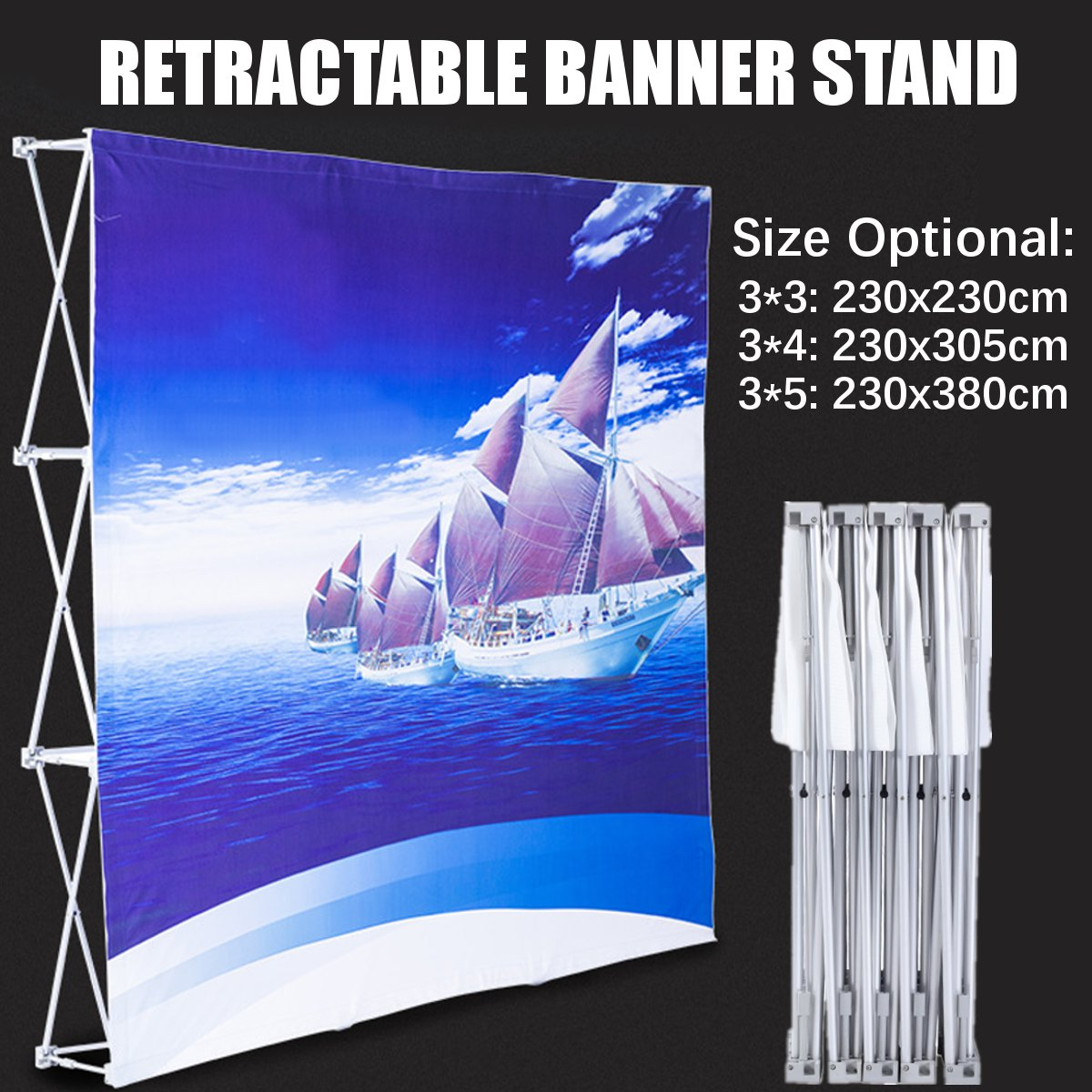 Aluminum Alloy Retractable Banner Stand Presentation Rack Flower Wall Frame Wedding Backdrop Decor 230*230cm/230*305cm/230*380cm