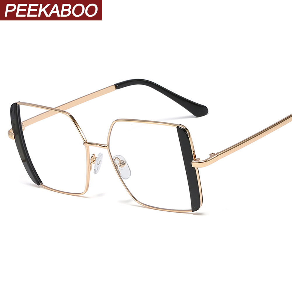 Peekaboo Square Glasses Frame Female Metal Full Rim Clear Lens Trend New Women Prescription Glasses For Ladies Gold White