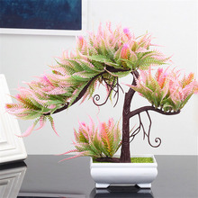 Artificial Bonsai Plants Small Tree Pot Fake Flowers Potted Ornaments For Home Living Room Decoration Hotel Garden Decor