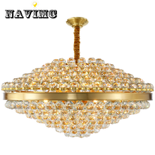 New Luxury Foyer Crystal Chandelier Lighting Modern Copper Lamp AC110V 220V Lustre LED Dinning Room Lights