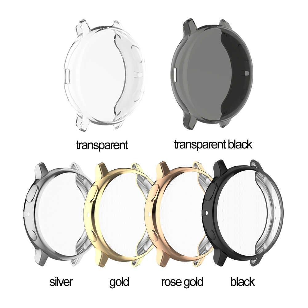 Claro chapeamento macio tpu assista caso capa completa amortecedor pulseira escudo protetor de tela para samsung galaxy assista ativo 2 40mm 44mm