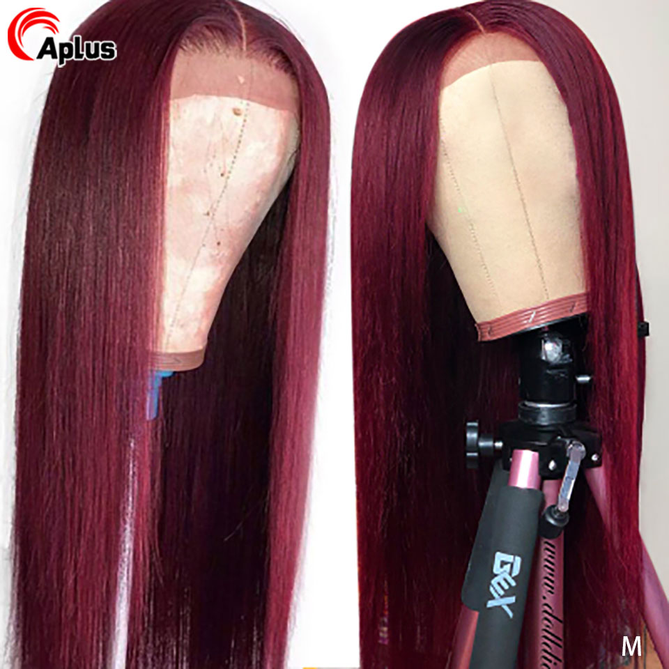 Colored 99J 13x6 Lace Front Human Hair Wigs Straight Red Burgundy Highlight Wig Pre Plucked Lace Wig Middle Part Brazilian 180