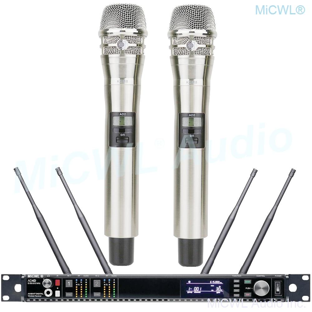 Pro AD4D Digital Wireless Microphone ULXD4 Dual Channel True Diversity AD2 KSM8 Handheld Headset Lapel Mircrofone 4 Antenna