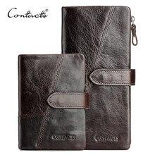 CONTACTS billetera de cuero de vaca para hombre, Cartera de Caballo Loco genuino, monedero de moda con tarjetero, billetera larga Vintage, bolso de mano