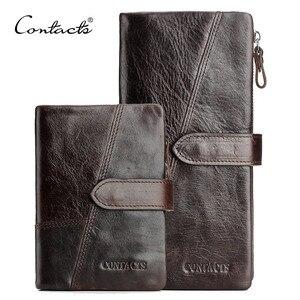 Image 1 - CONTACTS billetera de cuero de vaca para hombre, Cartera de Caballo Loco genuino, monedero de moda con tarjetero, billetera larga Vintage, bolso de mano