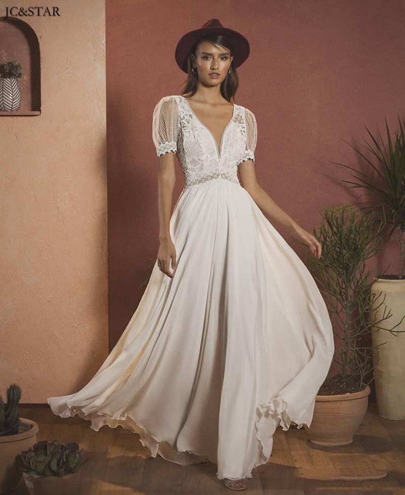 Vestido De Noiva 2020 New Lace Appliques Chiffon Bohemian Bridal Gowns V Neck Backless A-Line Wedding Dress Robe De Mariee