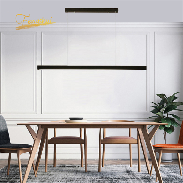 Modern Fish Line Long Wood LED Pendant Lamp Bar Restaurant LED Office Lamp Study Art Pendant Lights Lighting Hanging Lamp Lustre