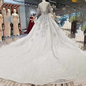 Image 2 - LS701645グレーイブニングドレス2020長袖oネックドバイ母花嫁ドレスクリスタル女性の日のドレス