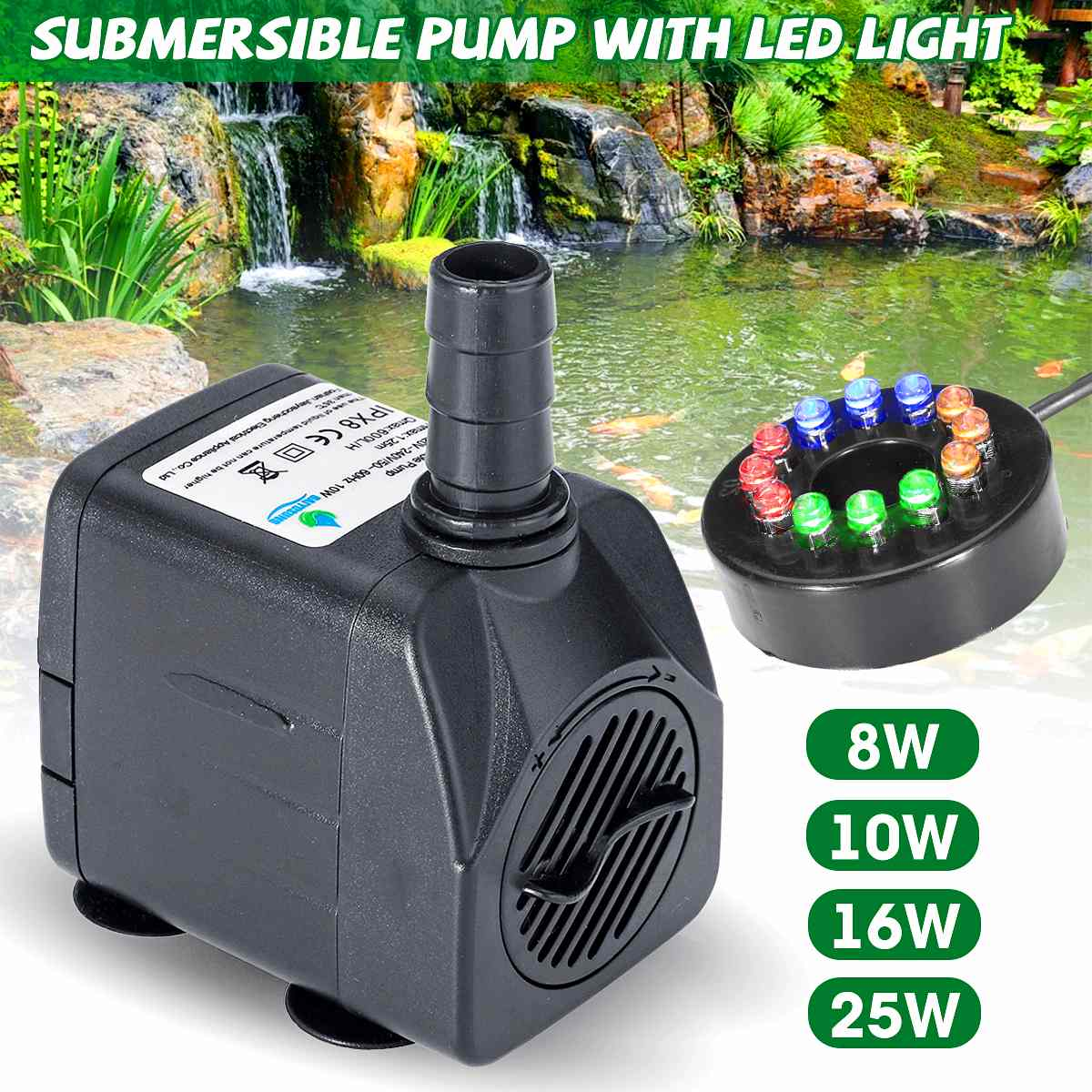 8W/10W/16W/25W Submersible Water Pump With LED Light Water Fountain Pump Fish Pond Aquarium Tank Water Pump Garden Decoration