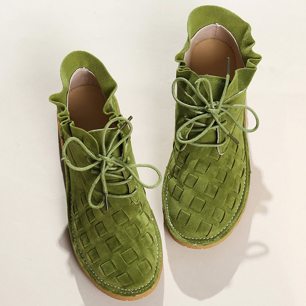 Leisure Time Student Single Shoe Woman Large Size Women Comfy Suede Braided Scallop Strappy Casual Shoes