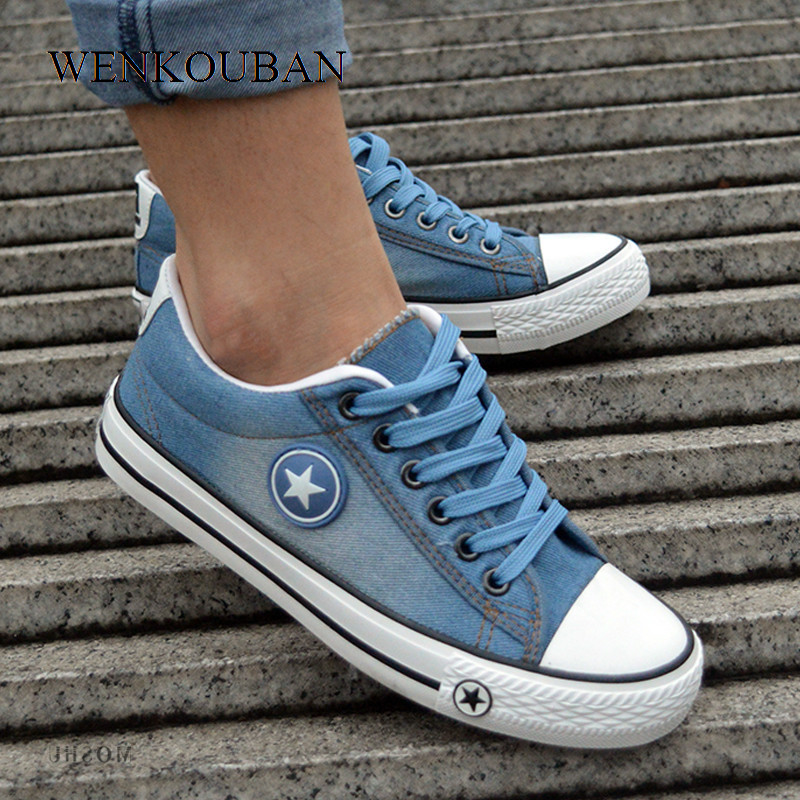 Women Sneakers Fashion Canvas Shoes Denim Casual Shoes Summer Female Trainers Lace Up Ladies Basket Femme Tenis Feminino 2020