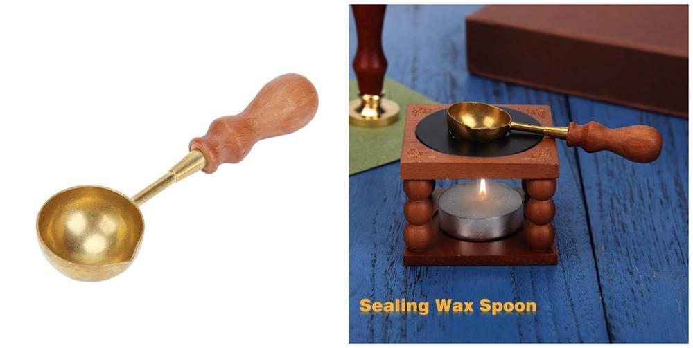 1pc Vintage Wooden Handle Wax Spoon Anti-hot Stamp envelope Card Hot Wax Sealing