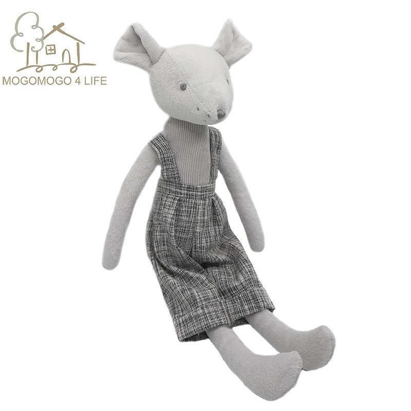 Luksusowa mysz miękkie nadziewane zabawki z tkaniny uroczy prezent dla chłopców Baby Nursey doll Handmade Cartoon ubrany szczur rysunek pluszowy 35cm