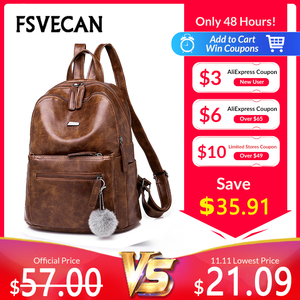 Image 1 - Luxury Brand Vintage Backpack Female PU Leather Brown College Anti Theft Backpack Women Travel Ladies Backpacks Woman 2018