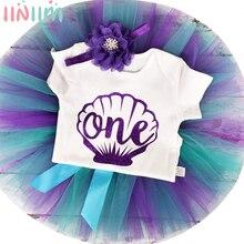 1 год, платье русалки для девочек на 1-й день рождения, костюм принцессы для новорожденных 18 месяцев, платье для крещения, комбинезон, Тюлевая ...
