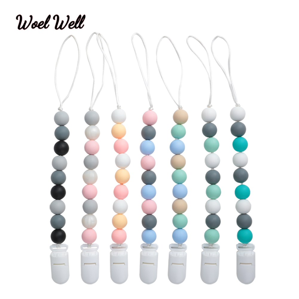Woel Well 1pc BPA Free Baby Pacifier Clips,Funny Silicone Beads Pacifier Chain For Baby Teething Soother Chew Toy Pacifier Holde