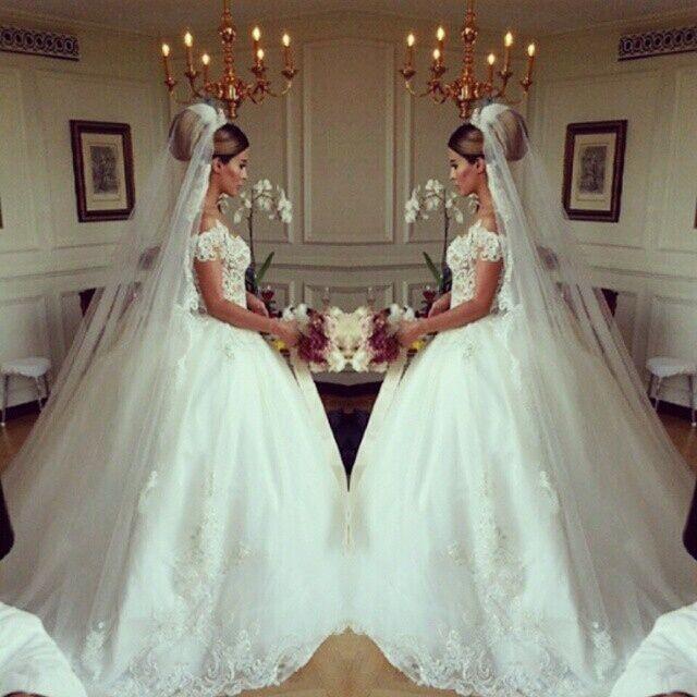 Free Shipping New Beading Tulle 2016 Vestido De Noiva Bridal Ball Gown Costom Vestidos De Casamento Princesa Wedding Dress