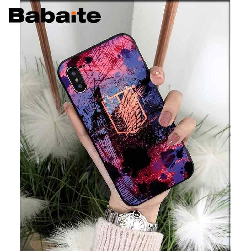 Babaite Attacco su Titano anime del giappone Nero Soft Shell Della Copertura Del Telefono Per il iPhone 8 7 6 6S Plus X XS MAX 5 5S SE XR 11 11pro 11promax