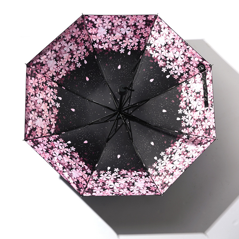 Creative-Manual Vinyl Folding Umbrella Eight Bone Cherry Blossom All-Weather Umbrella Customizable Logo Gift Umbrella