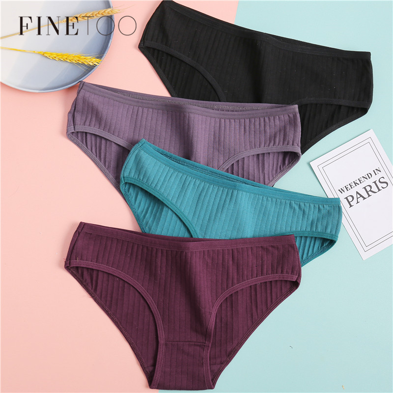 FINETOO Women's Cotton Panties 3Pcs Soft Striped Women Underpants Solid Girls Briefs Sexy Female Lingerie M-XL Comfort Underwear