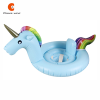 Baby Kids Swim Seat Ring Giant Unicorn Aquatic Seat Float Inflatable Unicorn Pool Toy Water Fun Gift 3 Colors