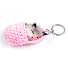 Cute Sleeping Cat Pompom Keychains for Women Girls Handmade Woven Shoes Faux Rabbit Fur Kitten Key Chains Fluffy Car Key Ring