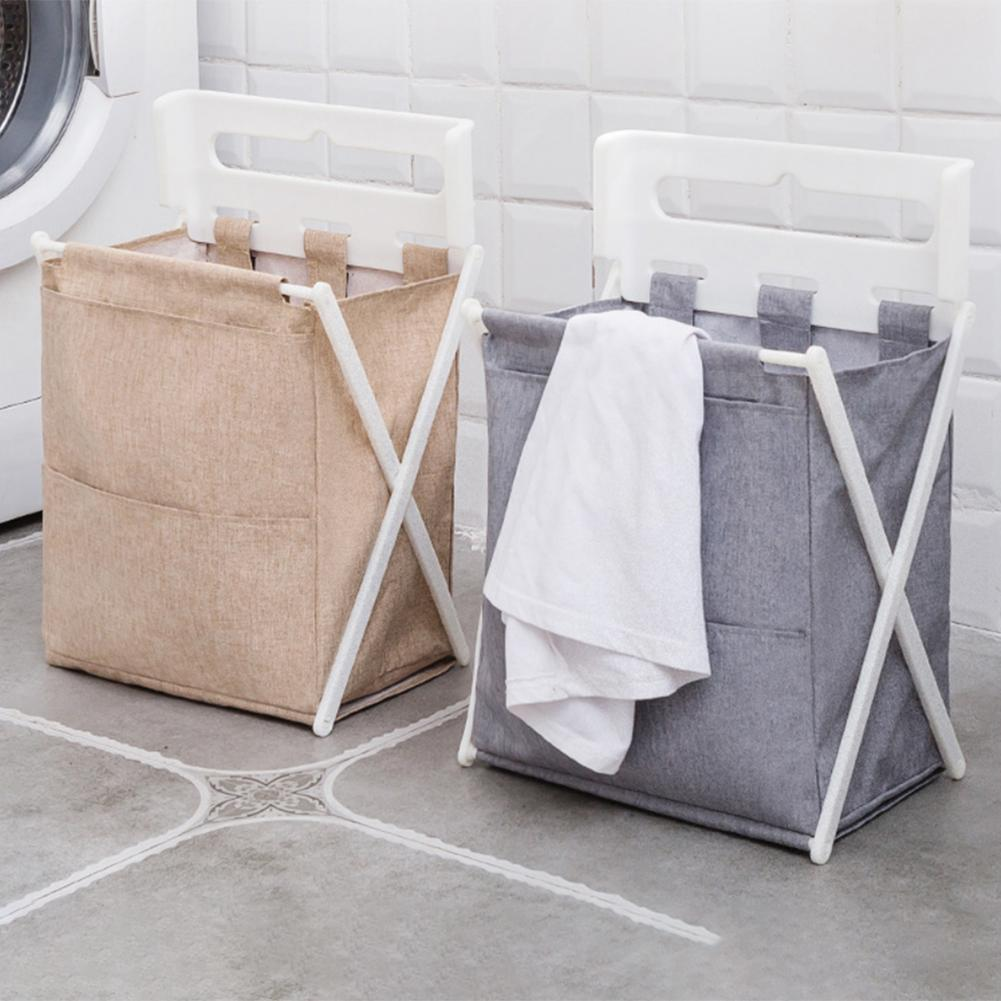 X-Shape Large Capacity Folding Laundry Basket Dirty Clothes Storage Container Wall Hanging Organizer Home Laundry Hamper Sorter