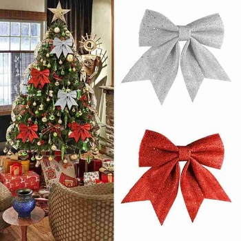 2pcs/set Pretty Bow Xmas Ornament Christmas Tree Decoration Festival Party Home Bowknots Baubles New Year Decoration image