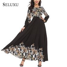 Seluxu Autumn Women Dress Muslim Robe Long Sleeve Floral Print female Ladies Female Party