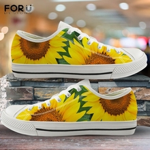 FORUDESIGNS Beautiful Yellow Flower Sunflower Pattern Casual Canvas Sho