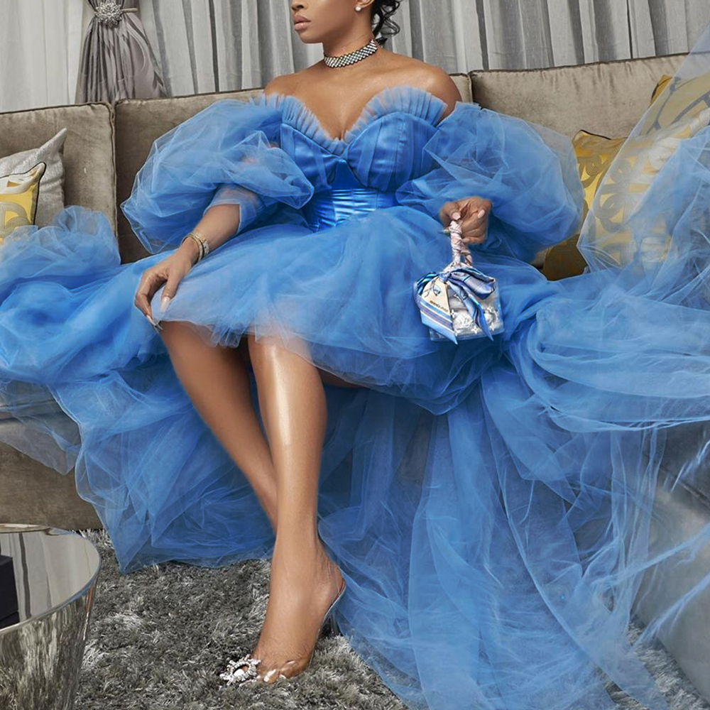 Blue Elegant Prom Dress African Long Sleeves Off The Shoulder A Line With Court Train Wedding Party Formal Prom Dresses