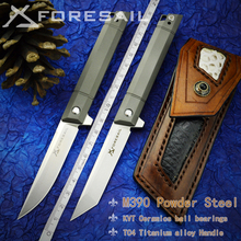 Knife-Bag Foresail-M390-Powder Folding Titanium-Alloy-Handle Steel Edc-Tool Outdoor