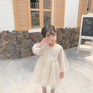 Image 3 - Осенние вечерние платья для девочек на свадьбу; Новые западные платья для малышей; Детское лаковое платье принцессы с длинными рукавами