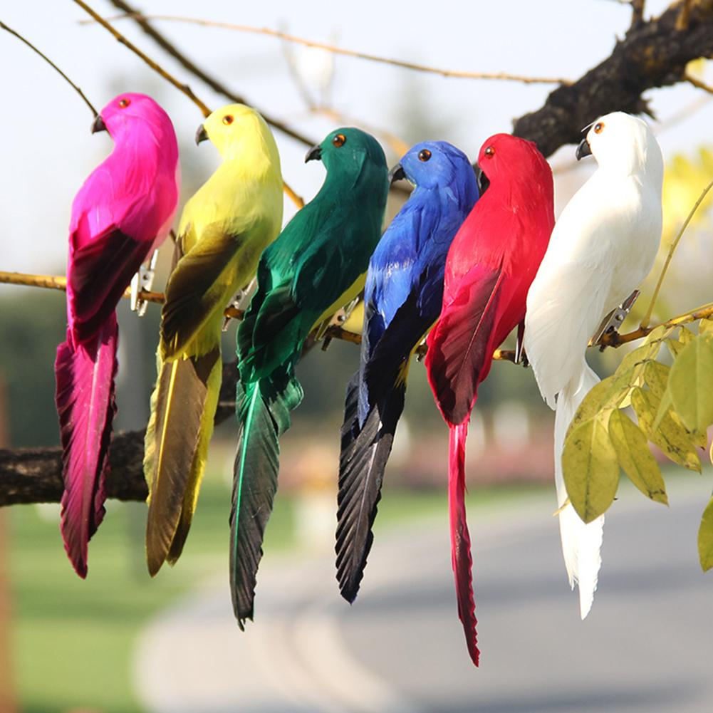 1Pcs 20cm Simulated Parrot Handmade Macaw Bird Feather Large Lawn Foam Figurine Ornament Animal Bird Prop Garden Decoration