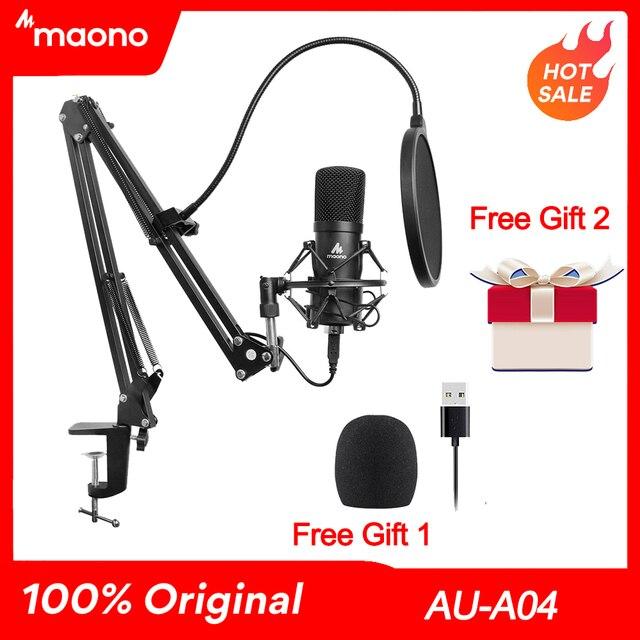 Maono AU A04 kit de microfone usb profissional, condensador de podcast, microfone com chapéu para pc, karaokê, youtube, gravação