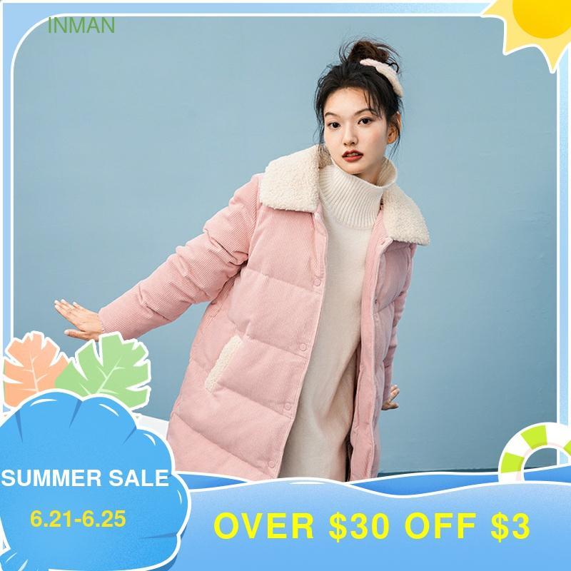 INMAN Winter Corduroy Fur Collar Plush Mid Long White Duck Down Loose Coat Women's Down Jacket