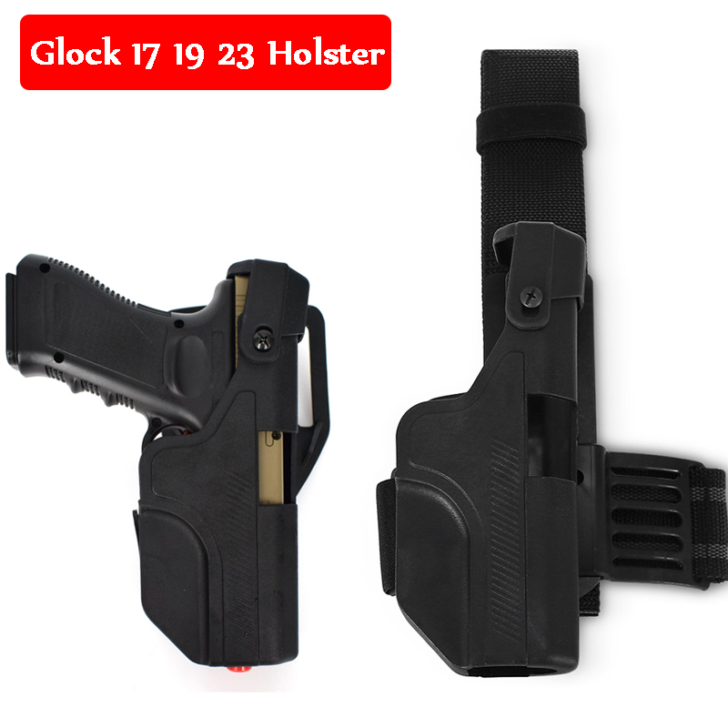 New Style Tactical Gear Glock 17 19 23 Gun Belt Leg Holster Right Hand Quick Drop Holster Airsoft Shooting Gun Carry Case in Holsters from Sports Entertainment