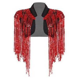Image 5 - ファッションレディースオープンフロントスパークルロングスパンコールタッセルショート丈ベストナイトクラブチョッキヒップ着用カバーアップラップ