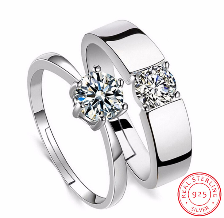 Classic Lovers' Wedding <font><b>Rings</b></font> Zirconia CZ <font><b>925</b></font> <font><b>Sterling</b></font> <font><b>Silver</b></font> <font><b>Rings</b></font> <font><b>For</b></font> <font><b>Men</b></font> Women Valentine's Day Present anillos S-R14 image