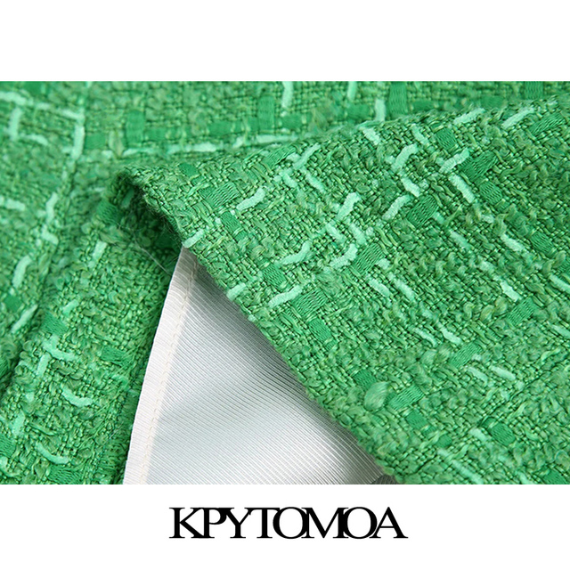 KPYTOMOA Women 2021 Chic Fashion With Lining Tweed Shorts Vintage High Waist Back Zipper Female Short Pants Mujer 6